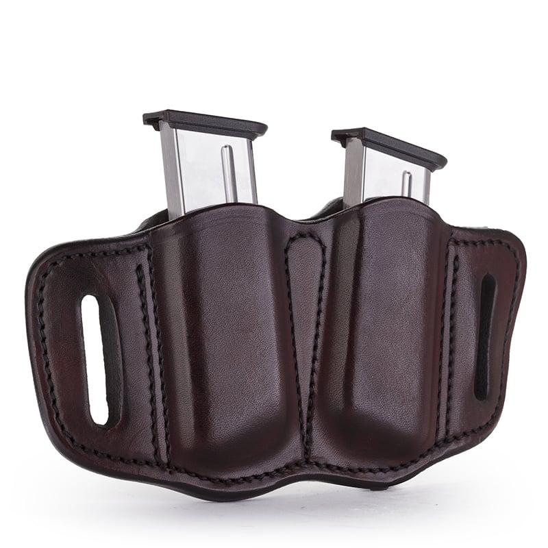 Single OWB Double Stack 9 mm or 40 caliber Leather Mag Holder Black