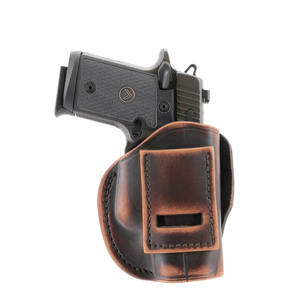 """4 IN 1 IWB /& OWB LEATHER HOLSTER FOR KIMBER 1911 3/"""" INSIDE THE PANT."""